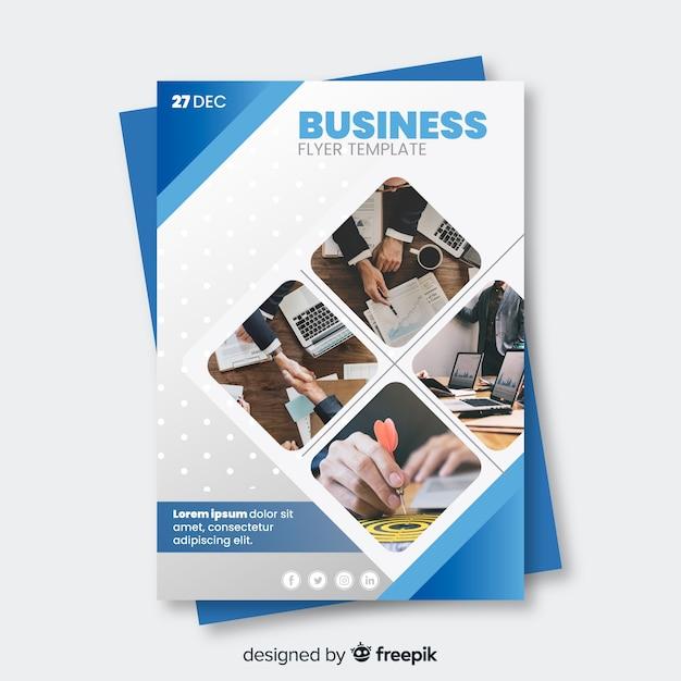 Modello di volantino di affari con immagini di mosaico Vettore Premium