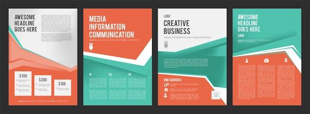 Volantini aziendali. pagine colorate di brochure di prodotti pubblicitari con posto per la raccolta di design di testo. modello di banner di presentazione Vettore Premium