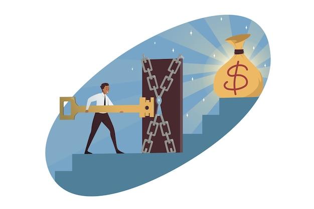 Affari, raggiungimento degli obiettivi, profitto in denaro. Vettore Premium