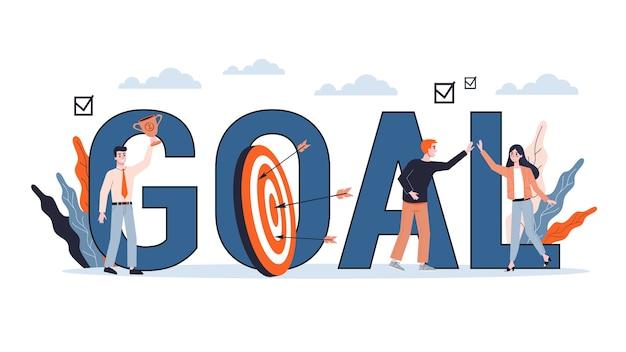 Concetto di obiettivo aziendale. idea di strategia e andare verso il successo. motivazione e successo. illustrazione Vettore Premium