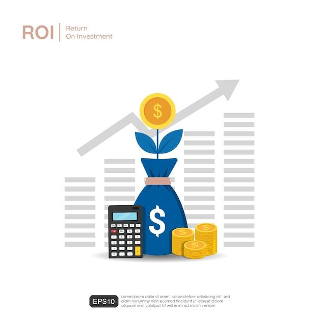 Frecce di crescita aziendale per il successo. sacchi di simbolo di pianta, calcolatrice e monete del dollaro. ritorno sull'investimento illustrazione Vettore Premium