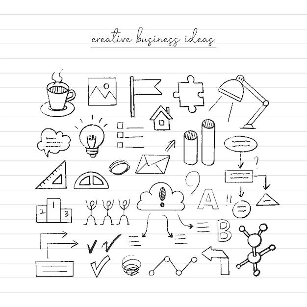 Schizzo di idea imprenditoriale. doodle disegnato a mano Vettore Premium