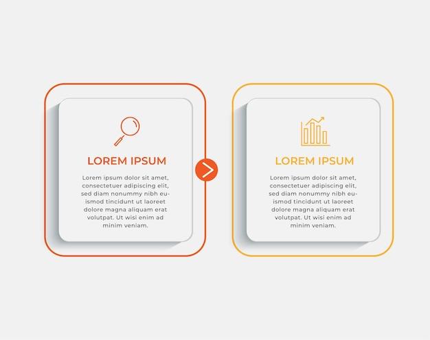 Modello di progettazione infografica aziendale vettore con icone e 2 due opzioni o passaggi. può essere utilizzato per diagramma di processo, presentazioni, layout del flusso di lavoro, banner, diagramma di flusso, grafico informativo Vettore Premium