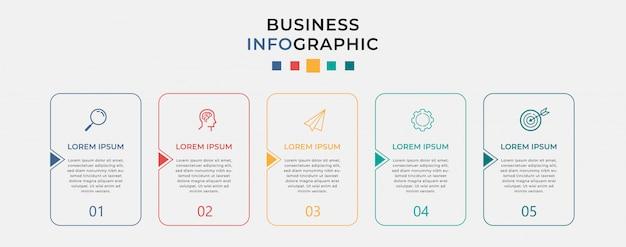 Modello di progettazione infografica aziendale con icone e 5 cinque opzioni o passaggi. Vettore Premium