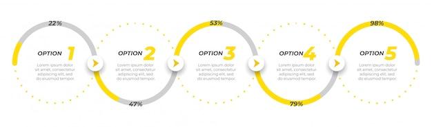 Progettazione di etichette modello di business infografica con icone. Vettore Premium