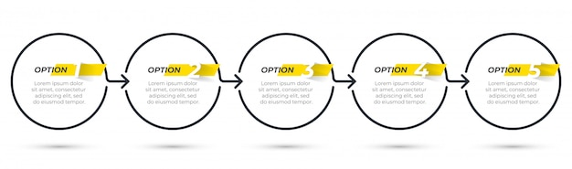 Modello di business infografica sottile linea di design con icone e 5 opzioni o passaggi. Vettore Premium