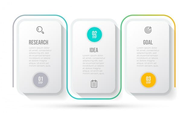 Modello di business infografica. cronologia con l'icona di marketing e 3 opzioni o passaggi. Vettore Premium
