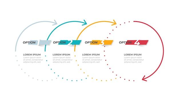 Cronologia del modello di infografica aziendale Vettore Premium