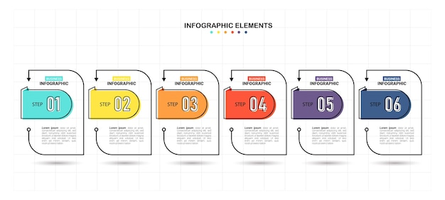 Modello di business infografica con 6 passaggi Vettore Premium