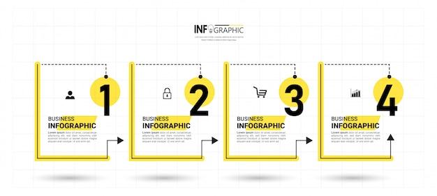 Infografica aziendale con quattro passaggi Vettore Premium
