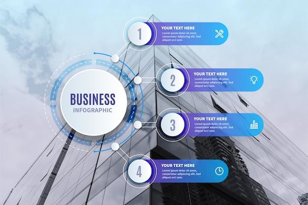 Infografica di affari con foto Vettore Premium