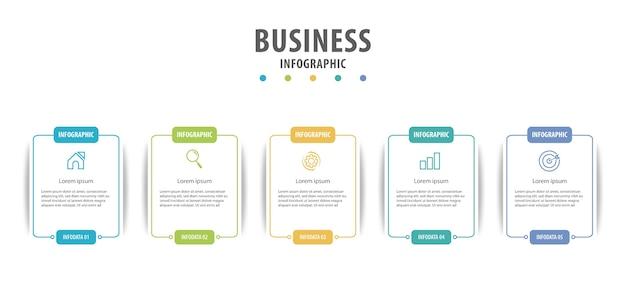 Infografica aziendale con diverse opzioni Vettore Premium
