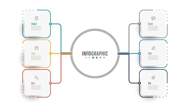 Infografica di affari. visualizzazione dati. concept creativo per la relazione annuale con 6 opzioni, passaggi. Vettore Premium
