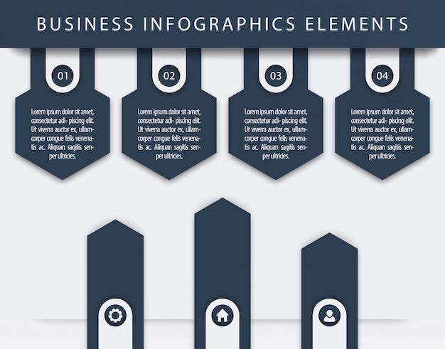 Elementi di infografica aziendali, 1, 2, 3, 4, passaggi, sequenza temporale, frecce di crescita, illustrazione Vettore Premium