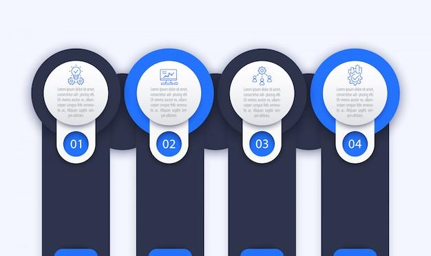 Modello di infografica aziendale, 1, 2, 3, 4 passaggi e opzioni Vettore Premium