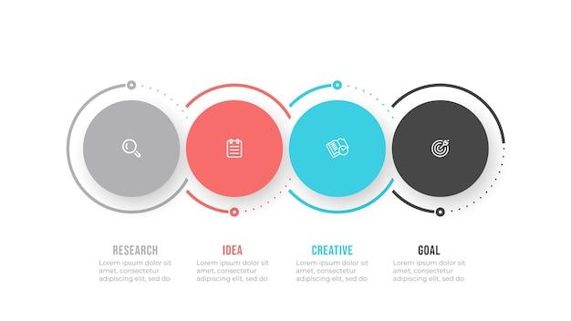 Elementi di disegno del modello di infographics di affari con icona e cerchi. processo di sequenza temporale con 4 opzioni o passaggi. Vettore Premium