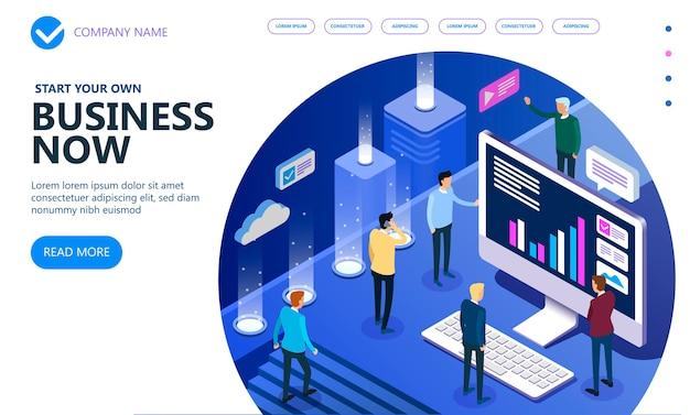 Persone isometriche di affari che lavorano insieme e sviluppano una strategia aziendale di successo, un concetto isometrico di vettore di marketing e finanza, illustrazione vettoriale Vettore Premium