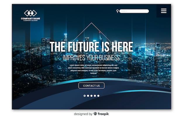 Pagina di destinazione aziendale con foto Vettore Premium
