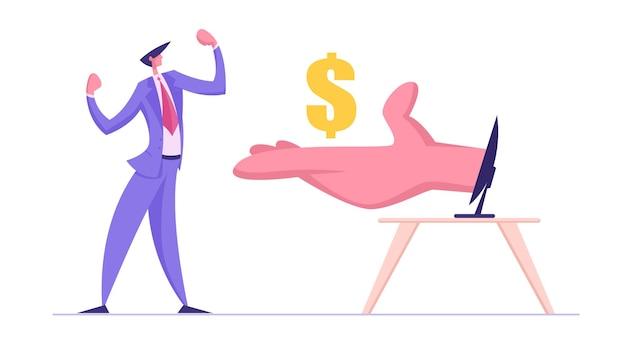 Uomo d'affari dimostra che i muscoli ricevono dollari dalla mano enorme dal monitor del computer Vettore Premium