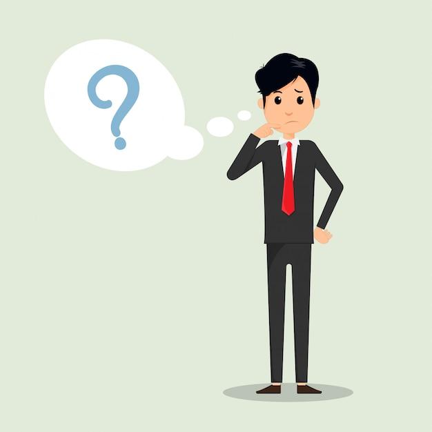 L'uomo di affari che pensa con il punto interrogativo dentro pensa la bolla. Vettore Premium