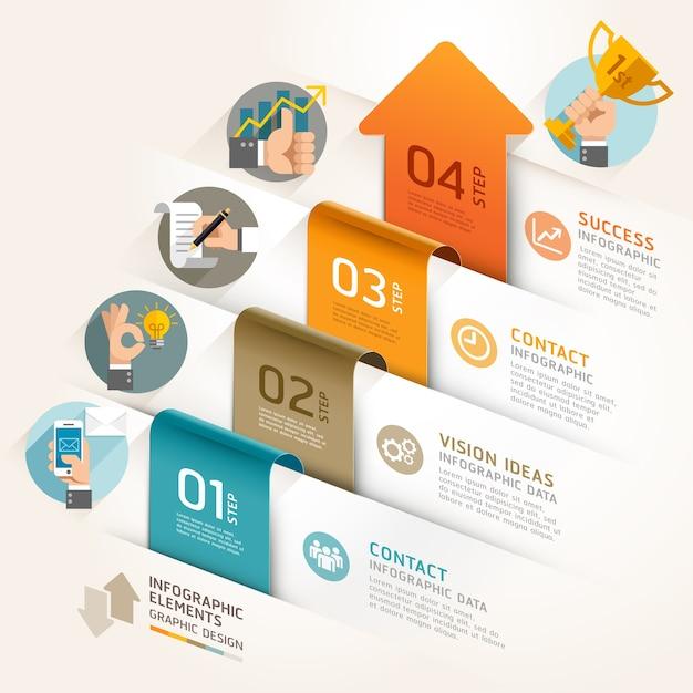 Modello di cronologia freccia di marketing aziendale. . Vettore Premium