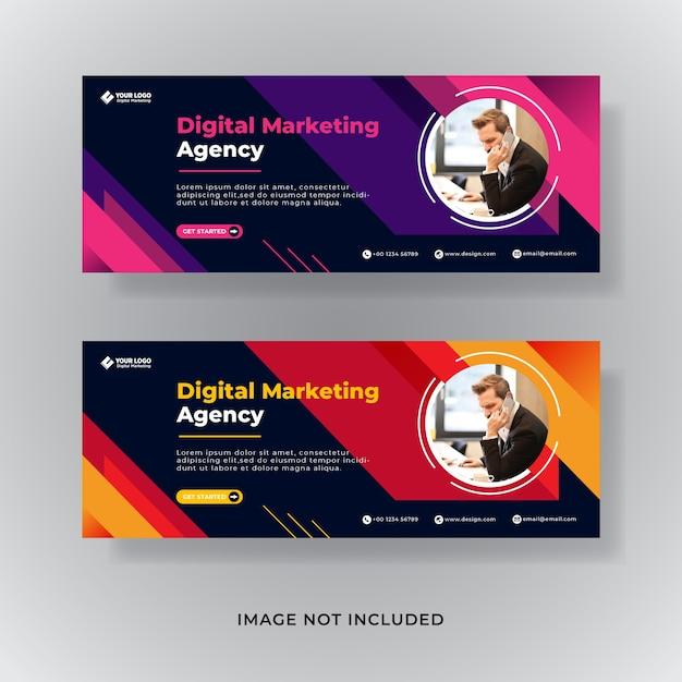 Modello di copertina facebook di marketing aziendale Vettore Premium