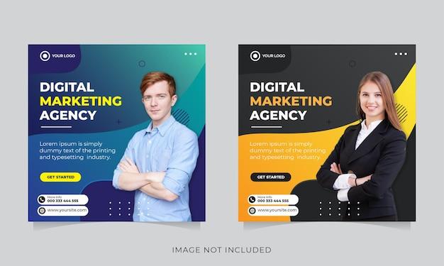 Modello di banner post social media marketing aziendale Vettore Premium