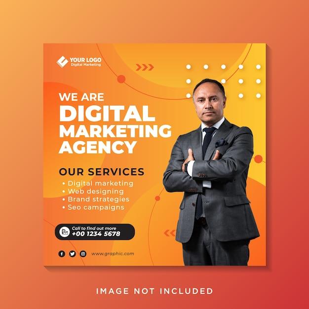Banner di post sui social media di marketing aziendale Vettore Premium