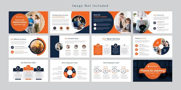 Modello di presentazione di diapositive minime aziendali. Vettore Premium