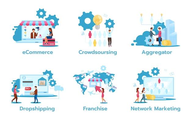 Set di modelli di business flat s. e-commerce. crowdsourcing. aggregatore. scaricare la consegna. franchising. marketing in rete. strategie di trading. personaggi dei cartoni animati isolati Vettore Premium