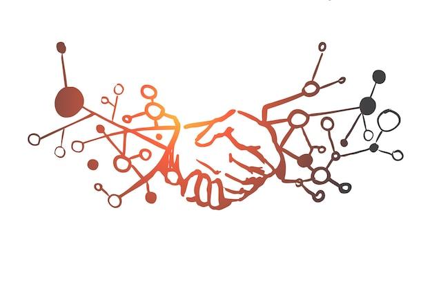 Affari, partnership, stretta di mano, accordo, concetto di fiducia. stretta di mano disegnata a mano di schizzo di concetto di uomini d'affari. Vettore Premium