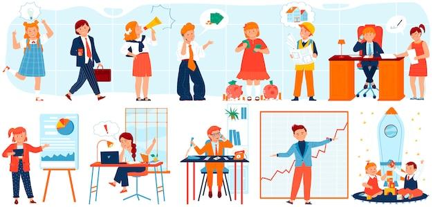 Insieme dell'illustrazione dei bambini della gente di affari, carattere dell'uomo d'affari del bambino del fumetto in vestito alla moda del costume che funziona nel luogo di lavoro dell'ufficio Vettore Premium