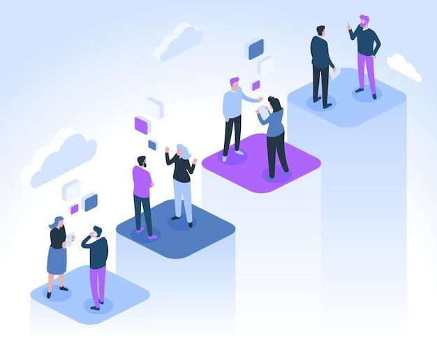 Gli uomini d'affari comunicano. imprenditrice di successo e uomini d'affari parlano, fanno collegamenti e si incontrano. Vettore Premium