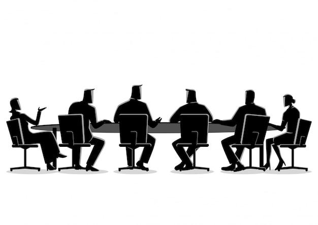 Gente di affari che ha una riunione Vettore Premium