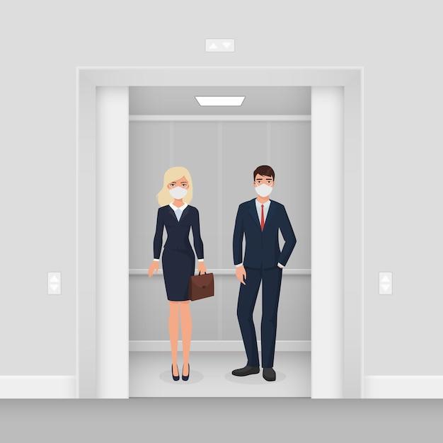 Uomini d'affari in maschere in ascensore Vettore Premium