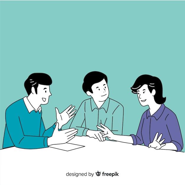 Gente di affari all'ufficio nello stile coreano del disegno con fondo blu Vettore Premium