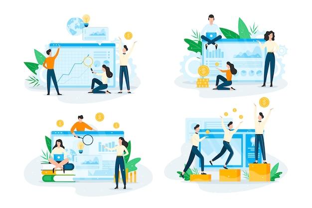 Insieme di concetto di pianificazione aziendale. idea di analisi Vettore Premium