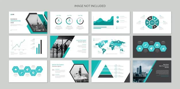 Diapositive di presentazione aziendale con elementi infografici Vettore Premium