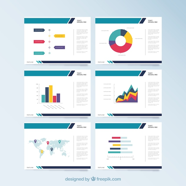 Modello di presentazione aziendale in stile piano Vettore Premium
