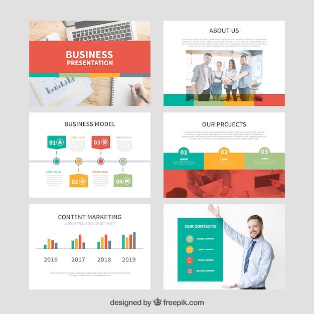 Modello di presentazione aziendale con foto Vettore Premium
