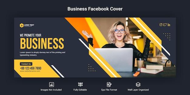 Promozione aziendale e modello di banner di copertina aziendale per facebook Vettore Premium