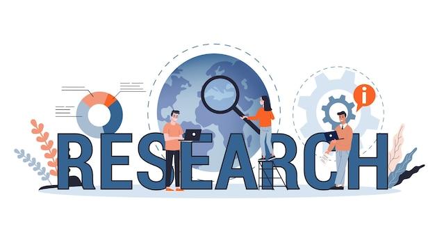 Banner web di concetto di ricerca aziendale. squadra in piedi al grafico con dati finanziari. analisi del diagramma. sviluppo aziendale. illustrazione in stile cartone animato Vettore Premium