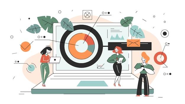 Banner web di concetto di ricerca aziendale. squadra in piedi Vettore Premium
