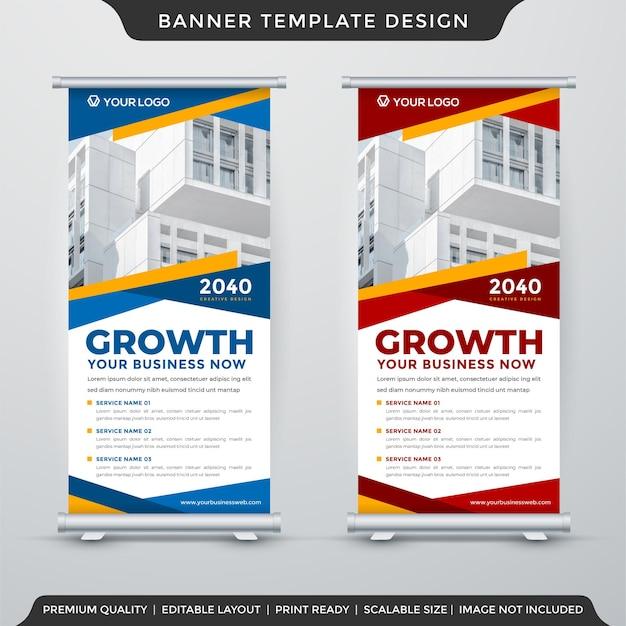 Business roll up banner template design con layout moderno uso per la presentazione di prodotti aziendali Vettore Premium