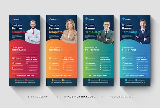 Modelli di banner aziendali roll up aziendali Vettore Premium