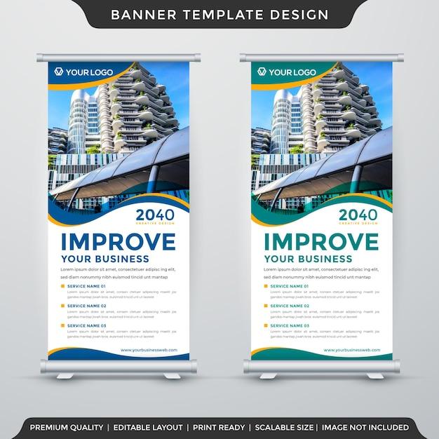 Modello di banner stand aziendale Vettore Premium