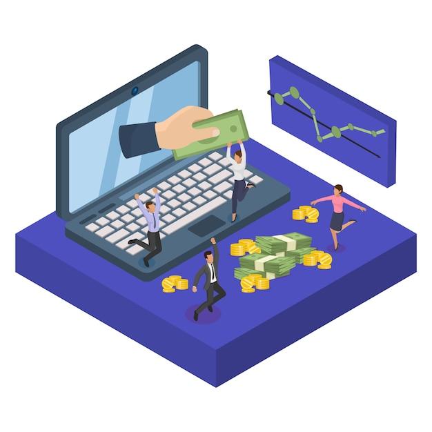 Investimento di internet di finanza di avvio di affari, illustrazione. grande mano dallo schermo con denaro finanziario. investitore informatico Vettore Premium