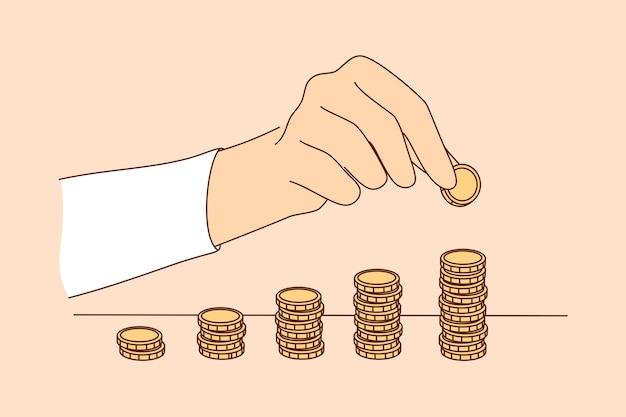 Avvio aziendale successo obiettivo raggiungimento ricchezza denaro entrate Vettore Premium