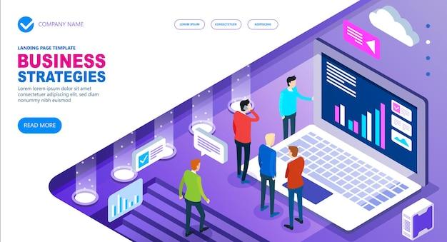 Strategie di business concetto isometrico del sito Vettore Premium