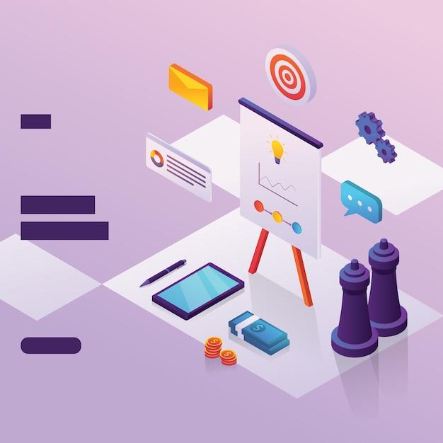 Elemento di strategia aziendale per pagina web con stile isometrico Vettore Premium